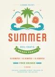Molde retro do projeto do cartaz ou do inseto do partido da praia das férias de verão Foto de Stock Royalty Free