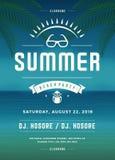 Molde retro do projeto do cartaz ou do inseto do partido da praia das férias de verão Imagem de Stock Royalty Free