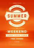Molde retro do projeto do cartaz ou do inseto do partido da praia das férias de verão Imagens de Stock Royalty Free