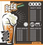 Molde retro do projeto do menu da cerveja ilustração royalty free