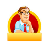 Molde sério do logotipo do homem novo Fotos de Stock Royalty Free