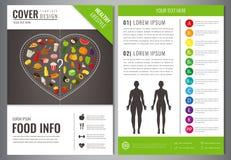 Molde saudável do projeto do folheto do estilo de vida Conceito saudável comer Alimento e bebida Vetor ilustração stock