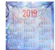 Molde simples do calendário para 2019 A semana parte de segunda-feira ilustração do vetor
