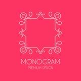 Molde simples do projeto do monograma, linha elegante projeto do logotipo da arte, Fotos de Stock Royalty Free