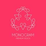 Molde simples do projeto do monograma, linha elegante projeto do logotipo da arte, Fotos de Stock