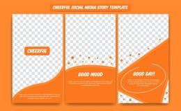 Molde social alegre do projeto da história dos meios ajustado na paleta de cores alegre do elogio feliz alaranjado do divertiment ilustração stock