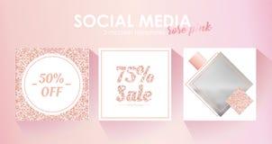 Molde social da bandeira dos meios para seu blogue ou negócio Projeto pastel bonito do rosa cor-de-rosa ilustração royalty free