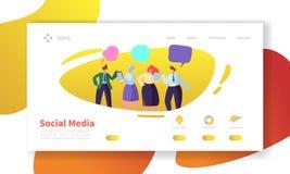 Molde social da página da aterrissagem dos meios Disposição do Web site com os caráteres lisos dos povos que comunicam-se Fácil e Ilustração Stock