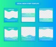 Molde social do cargo de Instagram dos meios na mistura fresca da cor do inclinação do oceano do tamanho quadrado de verde azul e ilustração do vetor