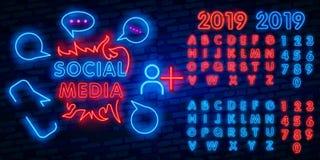 Molde social do projeto do vetor do sinal de néon dos meios Logotipo de néon do quadro, tendência colorida do projeto moderno do  ilustração royalty free