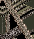 Baroque green gold lines design royalty free illustration