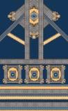 Geometric blue yellow gold lines baroque royalty free illustration