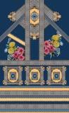 Geometric yellow blue flowers baroque gold lines stock illustration