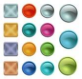 Molde vazio colorido dos botões com textura do metal Fotografia de Stock Royalty Free