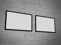Molde vazio da moldura para retrato na parede do grunge, rendição realística do quadro da foto, ilustração 3D Fotografia de Stock
