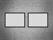 Molde vazio da moldura para retrato na parede do grunge, rendição realística do quadro da foto, ilustração 3D Fotografia de Stock Royalty Free