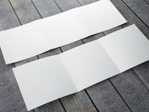 Molde vazio do folheto quadrado dobrável em três partes ilustração stock