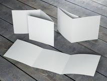Molde vazio do folheto quadrado dobrável em três partes Imagens de Stock Royalty Free