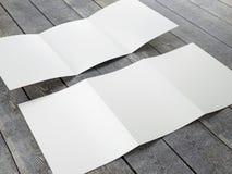 Molde vazio do tamanho dobrável em três partes do folheto A4 Foto de Stock