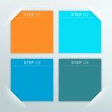 Molde vazio quadrado colorido de 4 caixas de texto do vetor Foto de Stock
