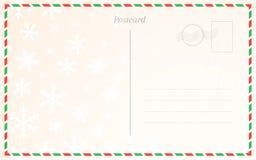 Molde velho do cartão postal com flocos de neve do inverno Projeto da parte traseira do cartão para cumprimentos do Natal e do an ilustração royalty free