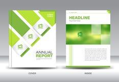 Molde verde da disposição do informe anual, inseto do folheto, projeto verde da tampa ilustração stock