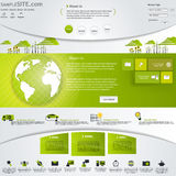 Molde verde do Web site de Eco com os ícones ajustados. Imagens de Stock