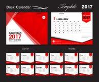 Molde vermelho ajustado do vetor do calendário de mesa 2017, molde de tampa Imagem de Stock Royalty Free