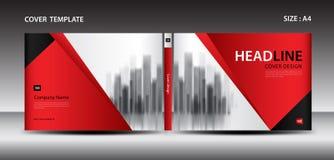 Molde vermelho do projeto da tampa para o compartimento, anúncios, apresentação, informe anual, livro, folheto, cartaz, catálogo, ilustração stock