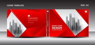 Molde vermelho do projeto da tampa para o compartimento, anúncios, apresentação, informe anual, livro, folheto, cartaz, catálogo, ilustração do vetor