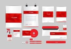 Molde vermelho e branco da identidade corporativa para seu negócio Imagens de Stock Royalty Free