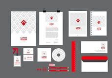 Molde vermelho e quadrado da identidade corporativa para seu negócio Imagem de Stock