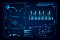Molde virtual da inteligência artificial da relação do GUI de Hud ilustração stock