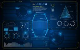 Molde virtual futuro abstrato do fundo do projeto de conceito da inovação da inteligência artificial da relação UI de HUD ilustração do vetor