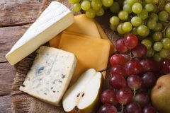 Molded cheese and fruit horizontal view from above Stock Image