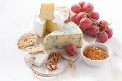 molded cheeses, fruit and snacks on a white wooden board Royalty Free Stock Images
