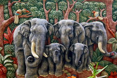 Molded elephant figure. Sticks the wall royalty free stock image