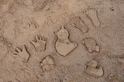 Molded sand objects. On the playground Royalty Free Stock Photo