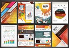 Moldes alaranjados do folheto do negócio com elementos infographic Fotos de Stock Royalty Free
