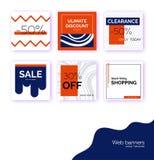Moldes, bandeiras para a promoção social do cargo dos meios Fundos quadrados geométricos com espaço do texto, elementos abstratos ilustração royalty free