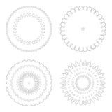 Moldes circulares do projeto Testes padrões decorativos redondos Grupo de mandala criativa isolado no branco Imagens de Stock