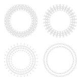 Moldes circulares do projeto Testes padrões decorativos redondos Grupo de mandala criativa isolado no branco Imagem de Stock