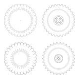 Moldes circulares do projeto Testes padrões decorativos redondos Grupo de mandala criativa isolado no branco Fotografia de Stock Royalty Free