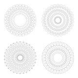 Moldes circulares do projeto Testes padrões decorativos redondos Grupo de mandala criativa isolado no branco Fotos de Stock
