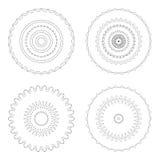 Moldes circulares do projeto Testes padrões decorativos redondos Grupo de mandala criativa isolado no branco Fotos de Stock Royalty Free