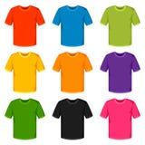 Moldes coloridos dos t-shirt Grupo de roupa relativa à promoção e da propaganda ilustração stock