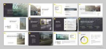 Moldes da apresentação com elementos amarelos em um fundo branco Fotografia de Stock Royalty Free