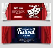 Moldes da bandeira do corte do papel do vetor do festival do teatro ilustração royalty free