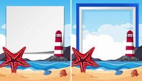 Moldes da beira com a estrela do mar no beira-mar Imagens de Stock