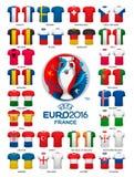 Moldes 2016 da camiseta do futebol do Euro Fotos de Stock Royalty Free